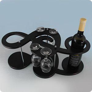 Минибар Скрипичный ключ для 2 бутылок и 4 бокалов