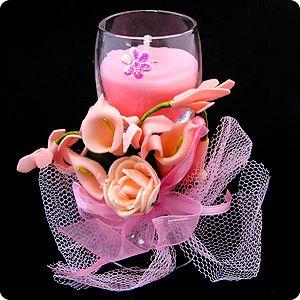 Свеча восковая Розовая нежность 10 см