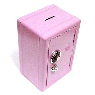 """Копилка """"Сейф"""" с ключом розовый металлический"""