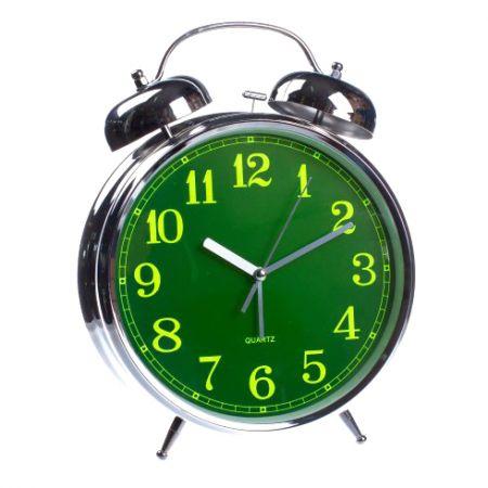 """Часы - будильник """"гигант"""" никелированный большой 30 см"""