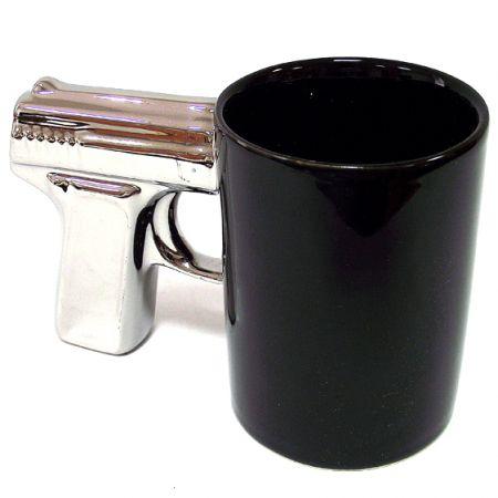 """Кружка """"Пистолет"""" черно-сребристая"""