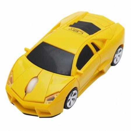 Мышь машинка «Lambo» беспроводная сувенирная желтая