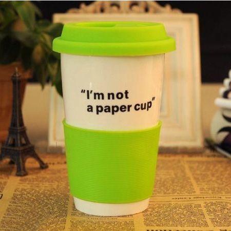 """Эко кружка """"Бумажный стаканчик"""" керамическая зеленый Im not a paper cup"""