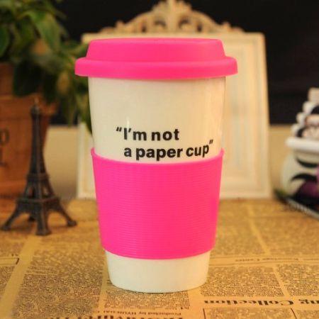 """Эко кружка """"Бумажный стаканчик"""" керамическая розовый Im not a paper cup"""