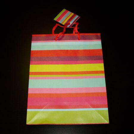 """Пакет подарочный """"Разноцветные горизонтальные полоски"""" M (17,8х22,9х9,8см)"""