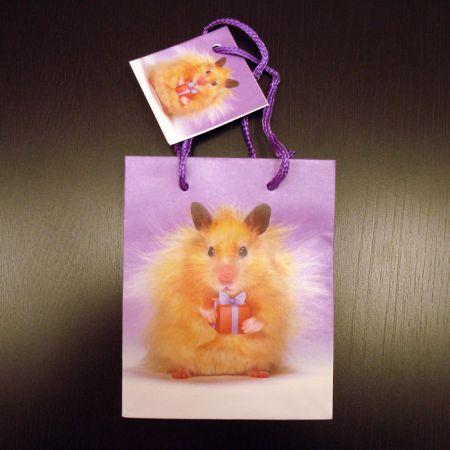 """Пакет подарочный """"Хомячок держит подарок"""" S (11,1х13,7х6,2см)"""