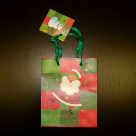"""Пакет подарочный """"Санта и Снеговик"""" S (11,1х13,7х6,2см)"""