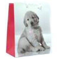 Пакет подарочный M Щенок с сердечком на ошейнике