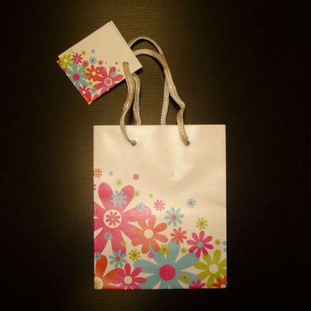 Пакет подарочный М Разноцветные ромашки на белом фоне (17,8х22,9х9,8см)