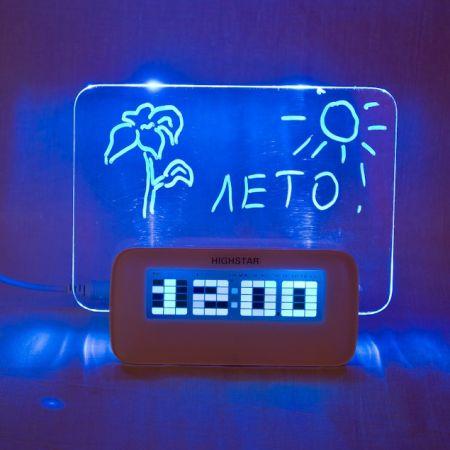 Часы настольные HighStar с доской и маркером для записей (Led синяя подсветка)