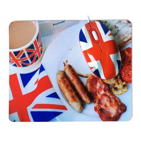 Мышь CBR English Breakfast USB + коврик для мышки с рисунком