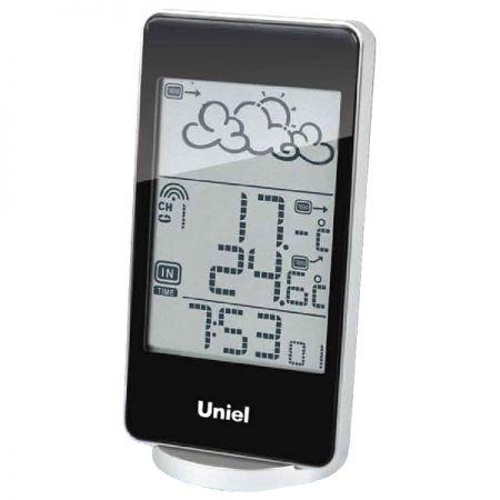Метеостанция Uniel  UTV-82 черная с беспроводным датчиком и анимированным прогнозом погоды