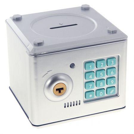 Копилка электронный сейф с кодовым замком для детей серебристый