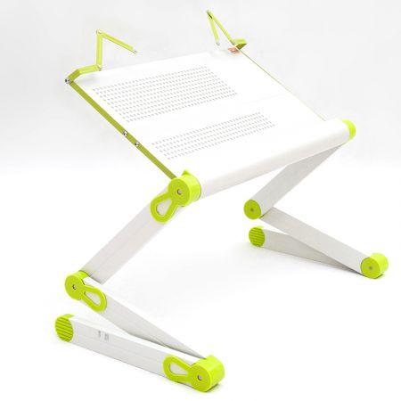 Столик-трансформер для ноутбука раскладной белый с полкой