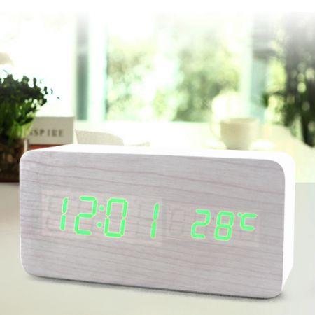 Часы-будильник Прямоугольник с термометром белое дерево зеленые цифры зв. активация