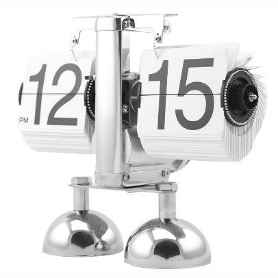 """Настольные ретро - часы с перекидным циферблатом """"Flip Clock"""" белые с черными цифрами"""