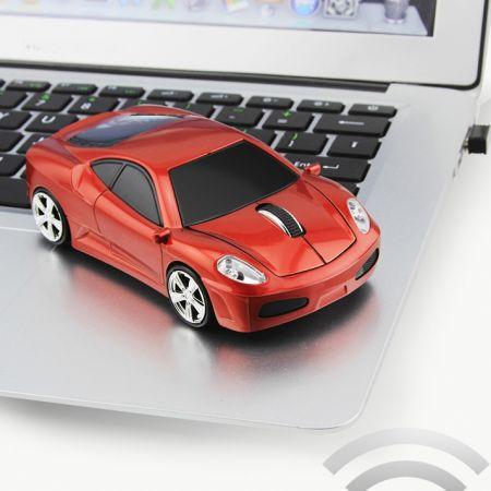 Мышь - машинка беспроводная «Ferrari» красная