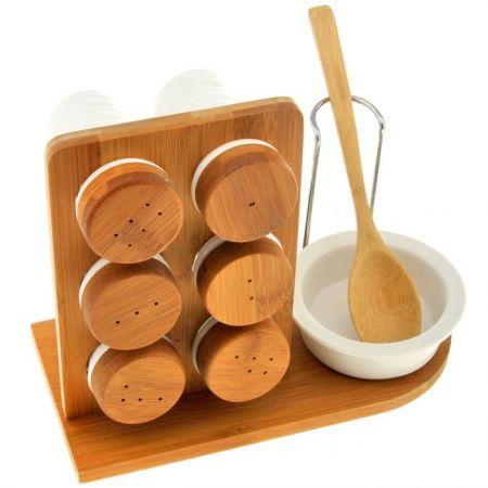 Набор банок для специй на деревянной подставке с ложкой Эстет