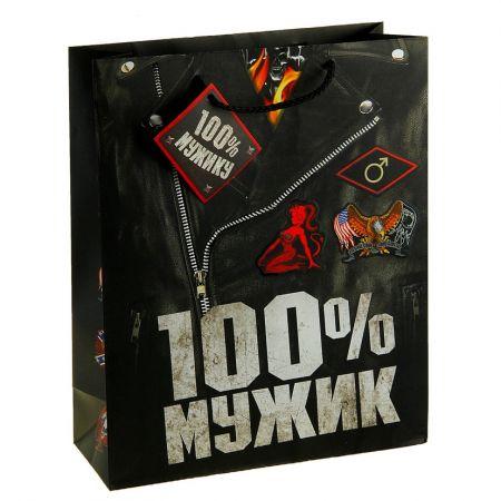 """Пакет L """"100% мужик"""" 26 х32х10 см"""