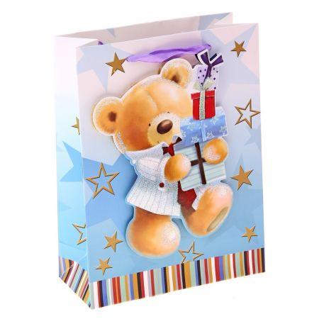 """Пакет M """"Мишка с подарками"""" 10х18х23 см"""