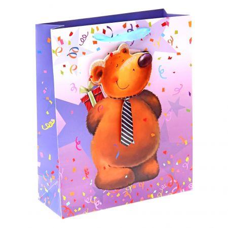 """Пакет M """"Мишка в галстуке с подарком"""" 10х18х23 см"""
