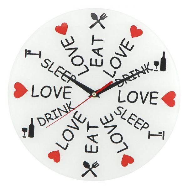 """Настенные часы """"Love. Eat. Drink. Sleep"""""""