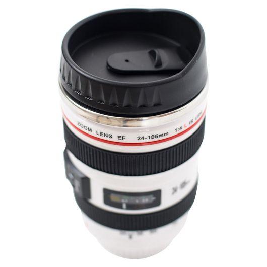 Термокружка Объектив фотоаппарата 24-105 mm  белый крышка-дозатор