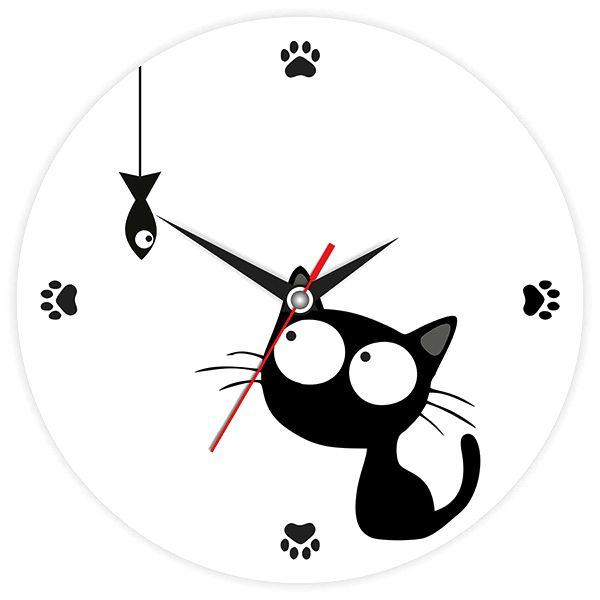 """Часы """"Кошка с рыбкой"""" настенные"""