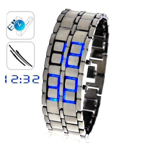 """Led Watch - часы """"Самурай"""" бинарные наручные серебристые с синими диодами"""
