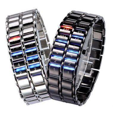 Led Watch - часы Самурай V2 бинарные наручные черные