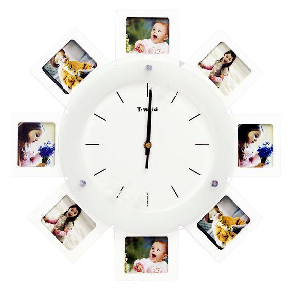 Часы с фоторамкой на 8 фото настенные