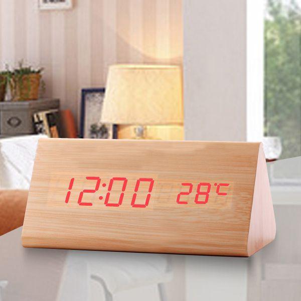 """Часы-будильник """"Пирамида"""" 15 см с термометром светлый бамбук красные цифры зв. активация"""