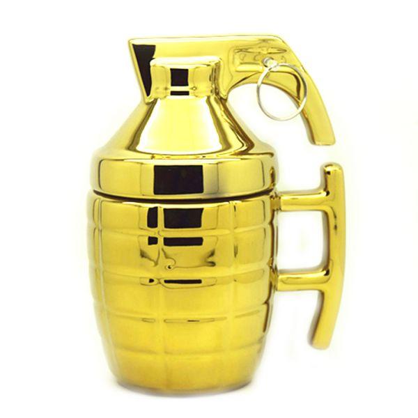 """Кружка """"Граната"""" в виде гранаты золотого цвета"""