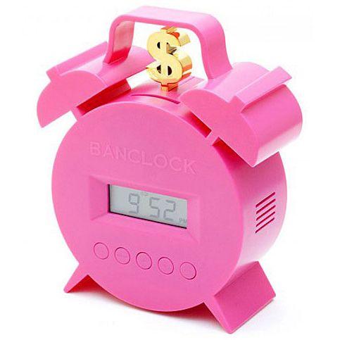 """Часы - будильник """"Брось монетку"""" розовый"""