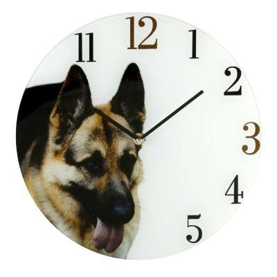 Настенные часы  Немецкая овчарка стеклянная 30 см