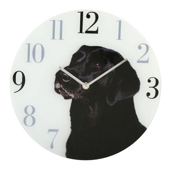 Настенные часы Лабрадор черный стеклнные 30 см