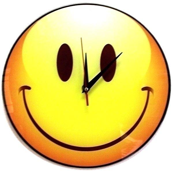 """Часы настенные """"Довольный Смайлик"""" стеклянные"""