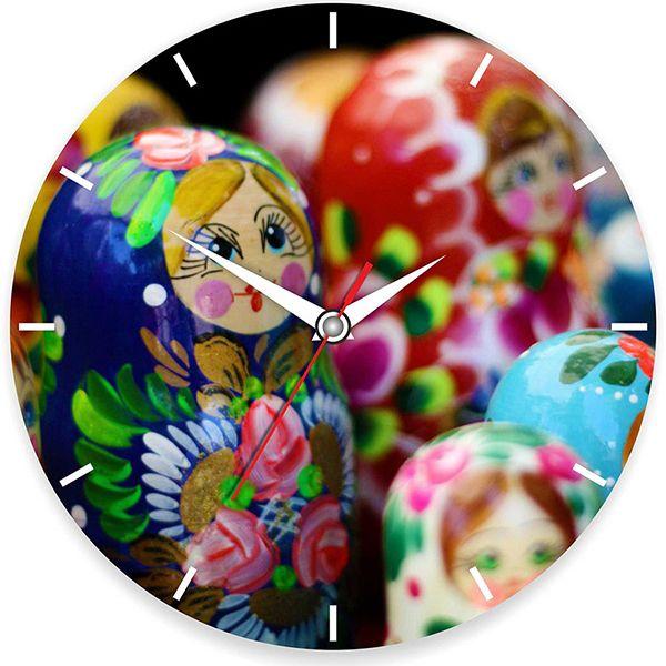 """Часы настенные """"Матрешка"""" стеклянные"""