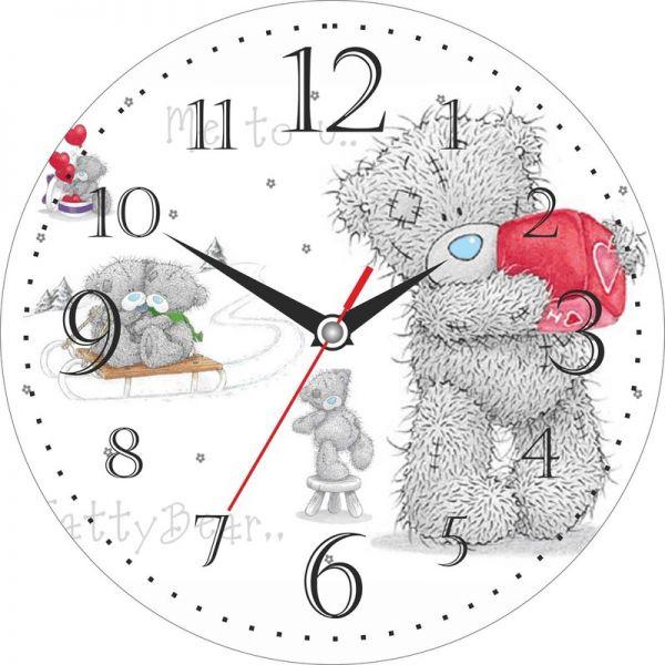"""Часы настенные """"Мишка"""" стеклянные"""