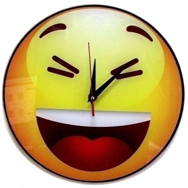 """Часы настенные """"Смеющийся смайлик"""" стеклянные"""