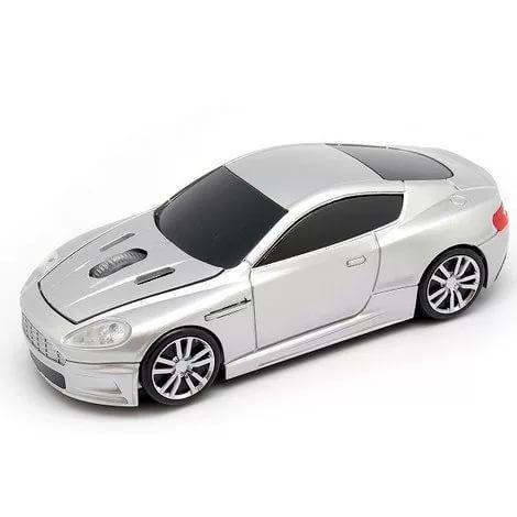 """Мышь - машинка """"Aston Martin"""" беспроводная 2,4GHz серебристая в виде автомобиля"""