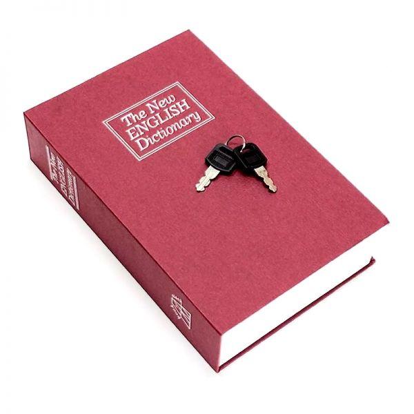 Книга сейф с ключом и замком металлический красный 24х15.5х5.5 см