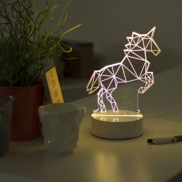 """3D светильник """"Единорог"""" 25 см"""