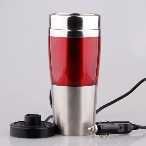 Чайник-кружка автомобильная стальная красная крышка дозатор 12 V