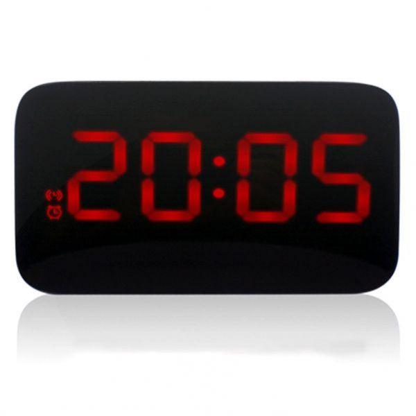 Часы-будильник красные цифры электронные со звуковой индикацией
