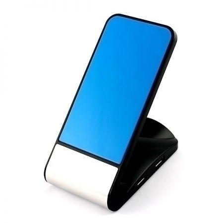 Разветвитель HUB с универсальным держателем для телефона Синий