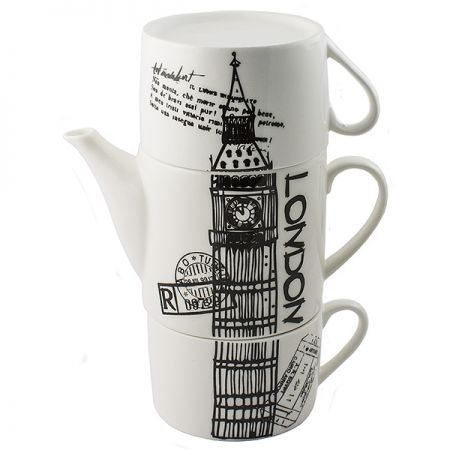 Чайник с двумя кружками Лондон,фарфор